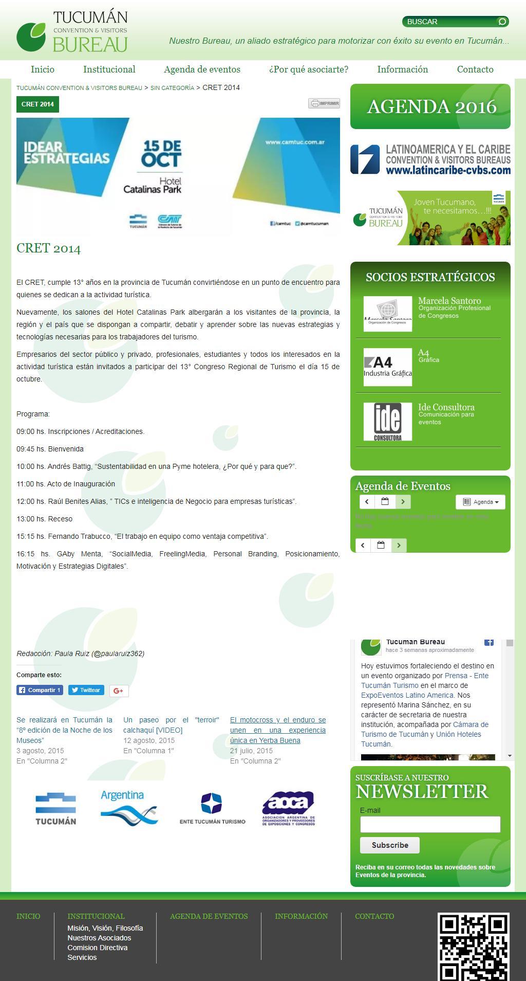 CRET 2014 Congreso Regional de Estudiantes de Turismo Pagina Completa